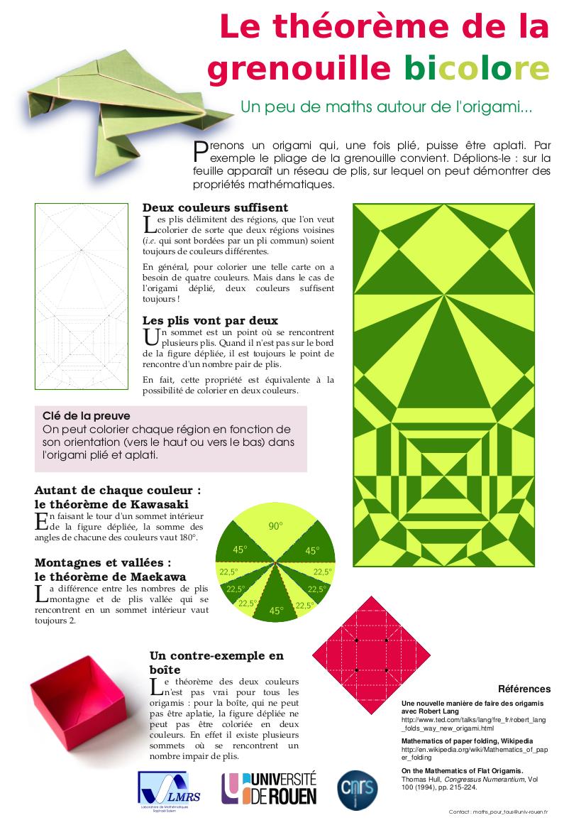 Posters de math matiques laboratoire de math matiques rapha l salem - Origami grenouille sauteuse pdf ...